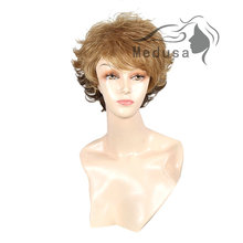 Medusa hair products: Free shipping Synthetic wigs for women Softly curly short shag styles Mix color wig with bangs SW0043
