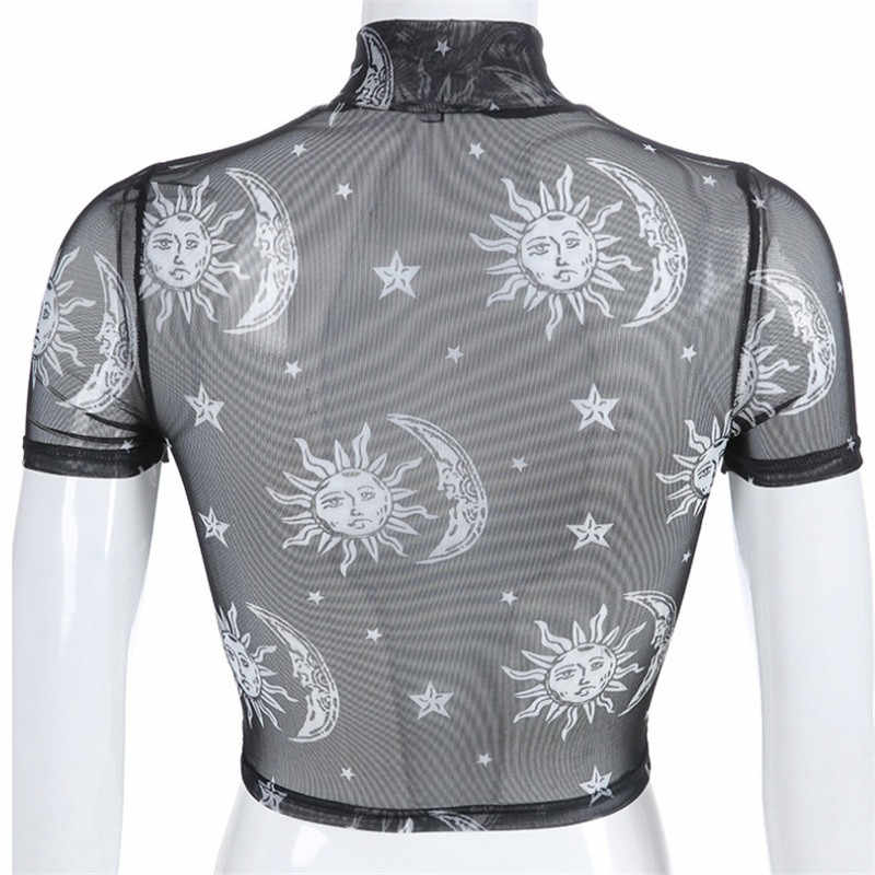 2019 Sexy Women T-shirt See Through Transparent Mesh O-Neck Short Sleeve Sheer Shirt Ladies Tops Tee Plus Size Clothings  Shirt