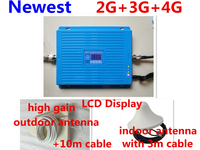 HOT GSM 900 1800 WCDMA 2100 Tri Band Booster 2G 3G 4G LTE 1800 65dB Mobile Phone Signal Amplifier Cell Phone Repeater for Europe