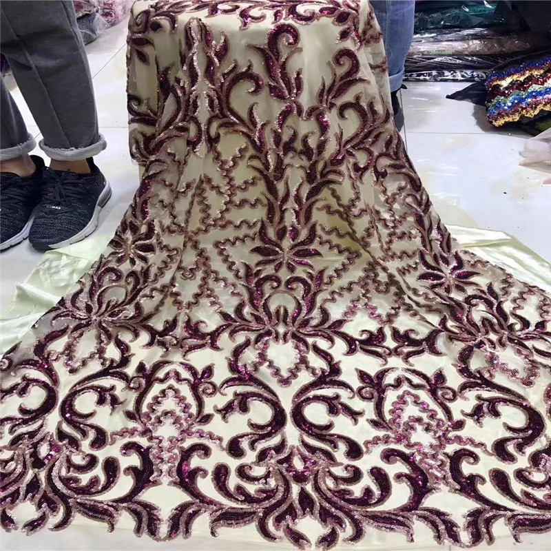 Embroidered Tulle Sequins Lace Fabric,blue, red Latest African Tulle Lace Fabrics High Quality 2019 Purple gold wine H1529-in Lace from Home & Garden    1