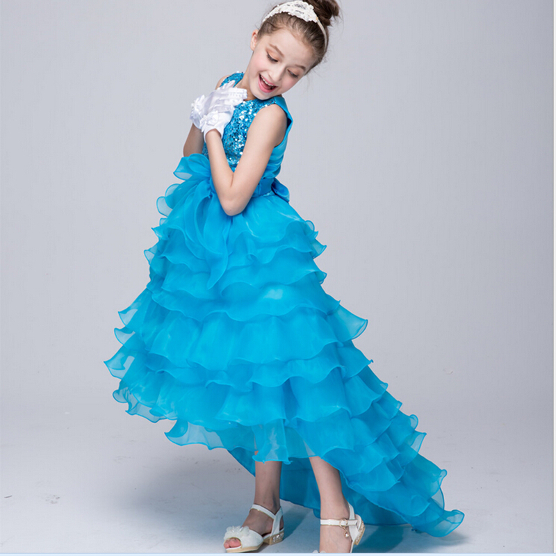 Hot Sale European American Long Tail A-line Toddler Girls Glitter Sequined Princess Summer Sleeveless Solid Color Formal Dress