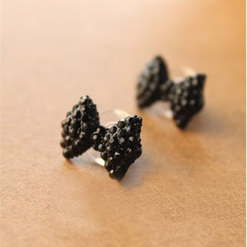 ES017 New style Western Fashion Simple Black Butterfly Bow Earrings Wholesale Jewelry Free shipping