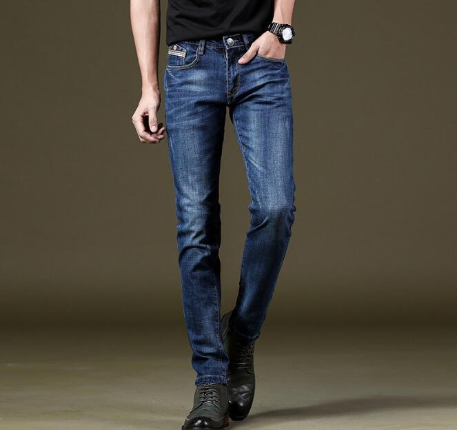 2018 Новое поступление хорошее качество Для мужчин джинсы-стрейч на Лидер продаж Длинные Длина Бесплатная доставка