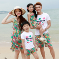 2017 Summer Family Clothing Parent-Child Outfit Mom & Daughter Bohemia Cotton Floral Beach Dress Dad & Boy Tee Shorts Set G377