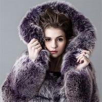 Зимнее пальто Для женщин искусственного меха лисы пальто плюс Размеры Толстовка Для женщин дамы меховой капюшон воротник с длинным рукавом