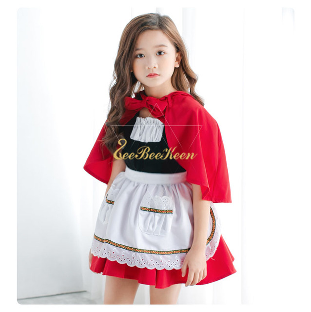 ab4508f76e79c New Year Gift Holiday Party Clothes Cloak For Kids Little Red Riding Hood  Dresses Girls Princess Dress Christmas Cosplay Costume