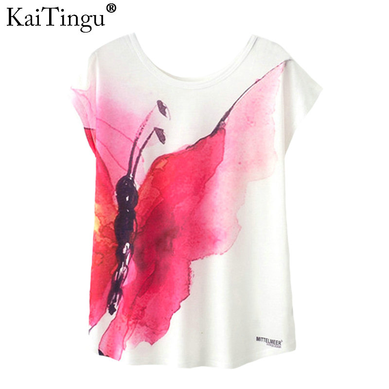 KaiTingu Summer Novelty Women   T     Shirt   New Harajuku Kawaii Cute Style Red Butterfly Print   T  -  shirt   Short Sleeve Tops Size M L XL