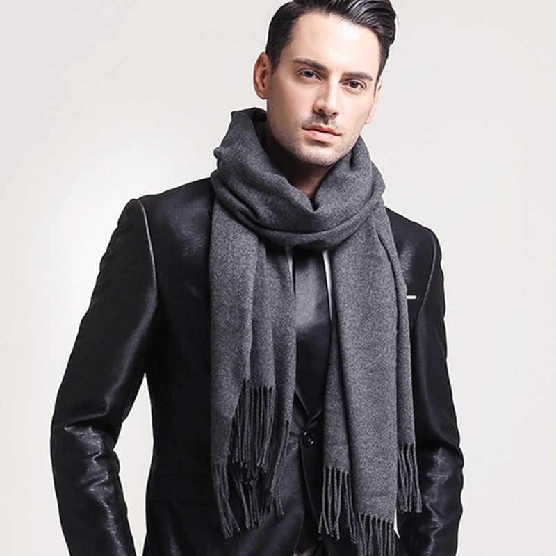 03b68d71a1f Элегантный серый мужской шарф Зимний искусственный кашемир мужские шарфы  черный темно-синий мужские шарфы классический
