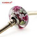 Flower Garden Glass Beads Fit Pandora Charms Silver 925 Original Bracelet Fashion DIY Charm Beads for Jewelry Making P5030