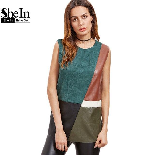 Shein multicolor mujeres tank top sin mangas de las mujeres del bloque del color de keyhole volver corte y costura de cuero de imitación casual tank top