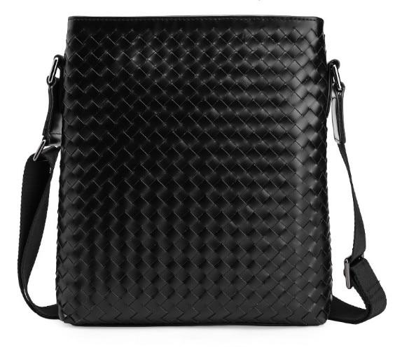 New hand woven first layer Genuine leather men s business Messenger bag shoulder bag