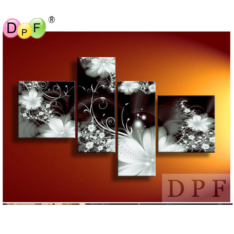 3D 黒と白の花 diy のダイヤモンドの刺繍塗装正方形のラインストーンクロスステッチトリプティク家の装飾キットダイヤモンドモザイク  グループ上の ホーム&ガーデン からの ダイヤモンド ペイント の中 1