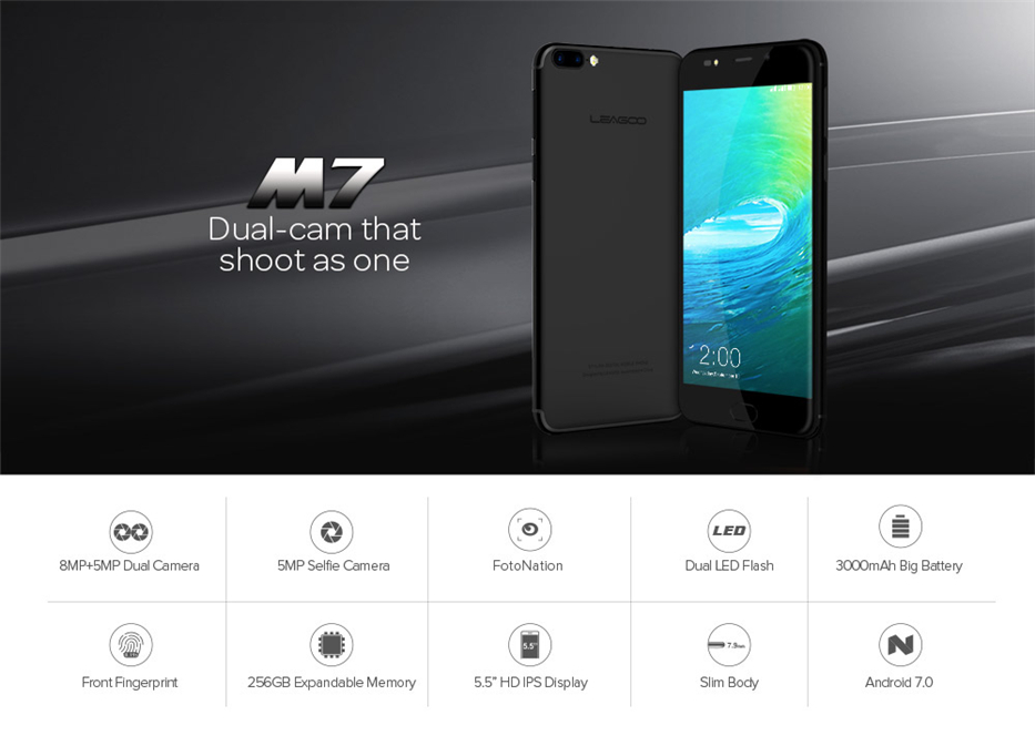 LEAGOO M7 3G Smartphone Android 7.0 5.5 Inch 1GB RAM 16GB ROM Quad Core Dual Back Camera Fingerprint Mobile Phone (1)
