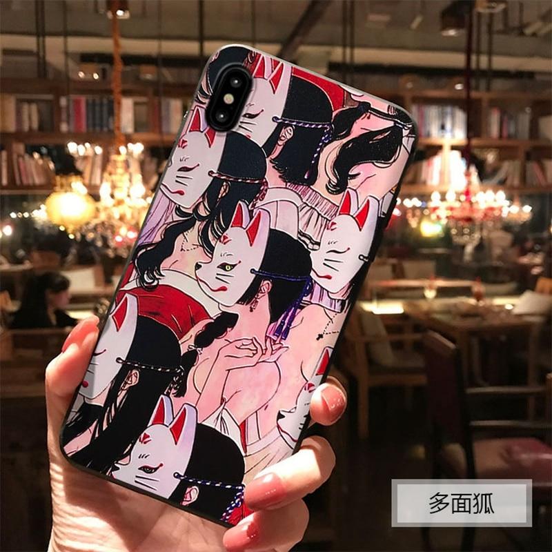 Japanischen Stil Anime Geprägt Weichen fall Coque Für iphone 6 6S 7 8 PLUS X 10 Fall Fuchs TPU Funda Für iphone 11 Pro XS MAX XR Fällen
