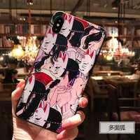 Japanese Style Anime Embossed Soft case Coque For iphone 6 6S 7 8 PLUS X 10 Case Fox TPU Funda For iphone 11 Pro XS MAX XR Cases