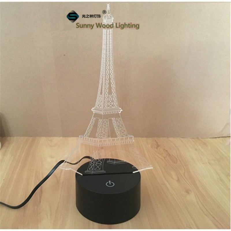 Eiffel <font><b>Tower</b></font> LED 3D lamp ,Visual Illusion RGB 7color changing 5V USB input for laptop, toy light for desk decoration