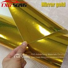 50 CENTIMETRI * 100/200/300/400/500CM di trasporto di Alta elastico Oro pellicola a specchio Cromato A Specchio involucro del vinile Copriletto Rotolo di Pellicola Car Sticker Decal Copriletto