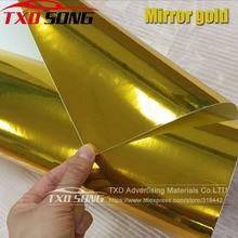 50CM * 100/200/300/400/500CM גבוהה stretchable זהב סרט מראה כרום מראה ויניל לעטוף גיליון רול סרט רכב מדבקת מדבקות גיליון