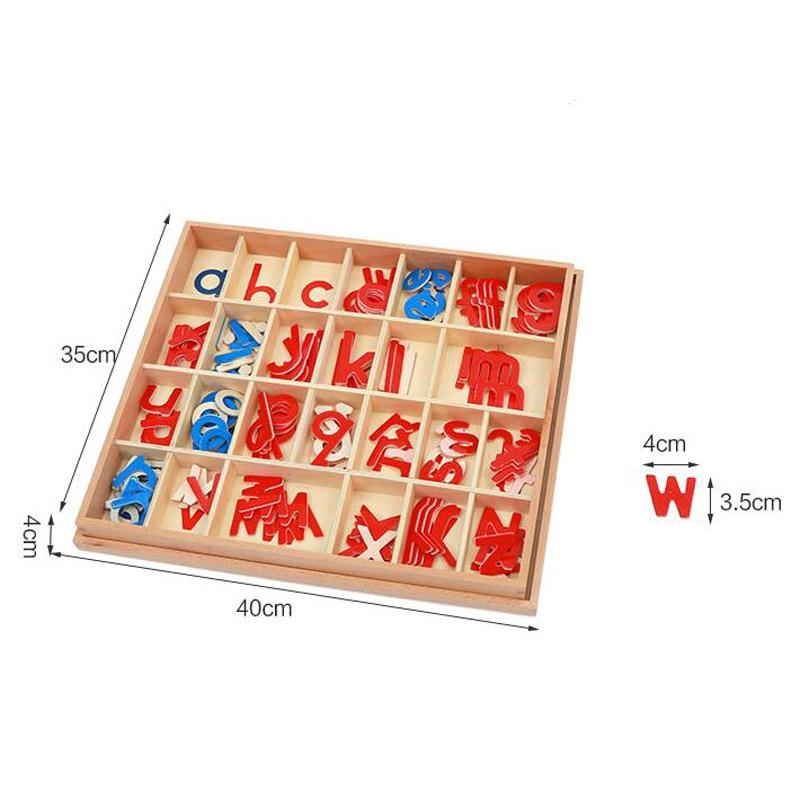 1 set Baby Speelgoed Montessori Hout Kleine Beweegbare Alfabet Red & Blue met Doos Voorschoolse Vroeg Kinderen - 5