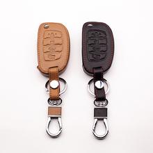 4 przyciski samochód skórzane etui na klucze dla Hyundai IX35 IX25 I10 I20 Sotaque Elantra IX35 IX45 3 przyciski skóra samochód zdalnego etui na klucze tanie tanio Górna Warstwa Skóry VOMRCA Black brown Genuine Leather + PU + Stainless steel Keychain for Hyundai IX35 I IX25 I10 I20