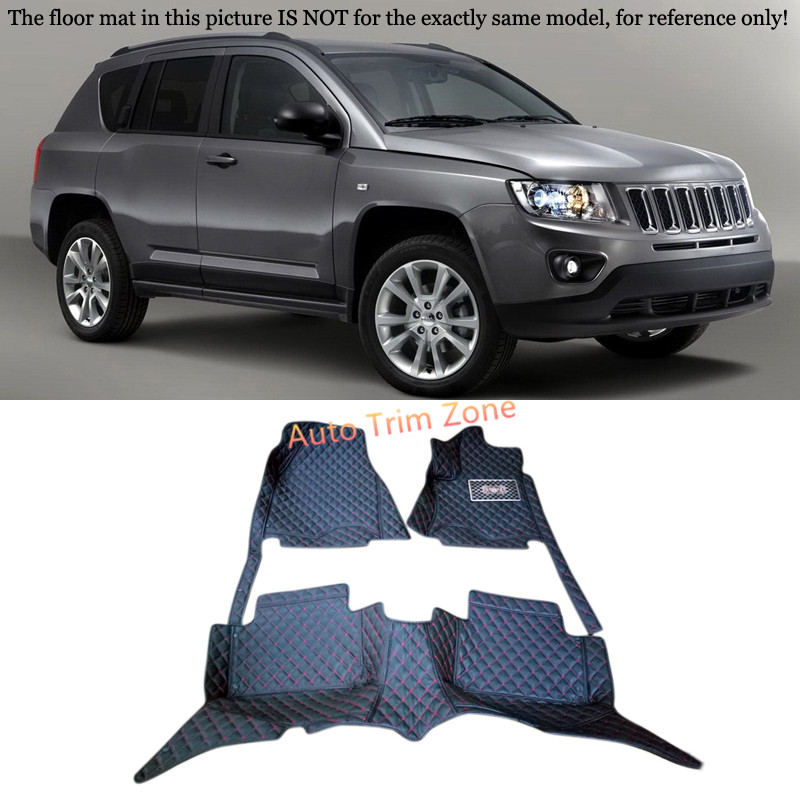 Black Interior Leather Floor Mats & Carpets Foot Pads For Jeep Compass 2011-2016