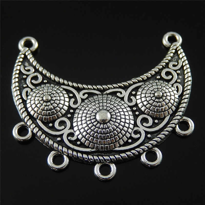 5pcs Alloy Antique Silver  Moon Shapes Pendant Charm Jewelry Making Accessories