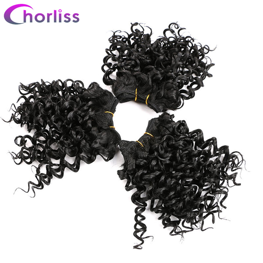 Chorliss Pure Color Black Afro Kinky Curly Hair Weaving Synthetic Hair Extensions Crochet Hair Weft 105g