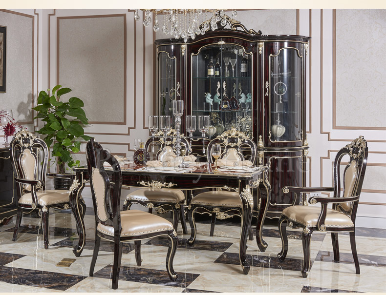New Classical European Style Dining Table And Chair With Wine Cabinet 8011