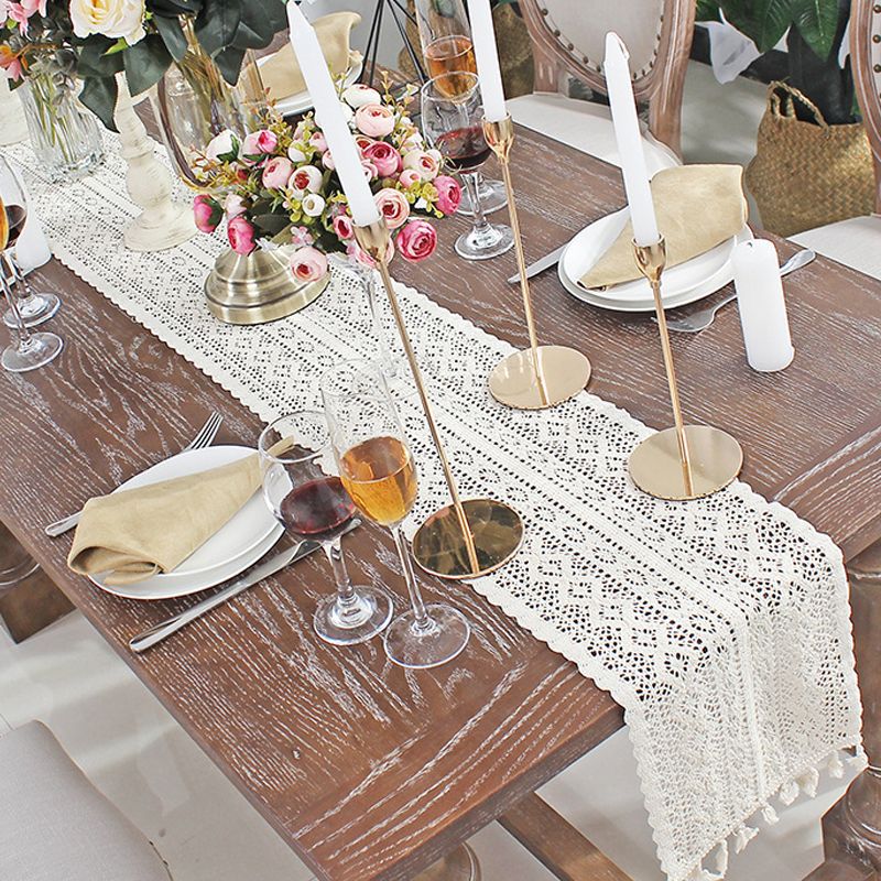 Crochet Hollow Lace Table Runner Tassels Beige 100% Cotton Wedding Decor Tablecloth Nordic Romance Table Cover Coffee Runners