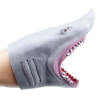 Rekin pacynka głowa zwierzęcia rękawiczki dla dzieci zabawki prezent pacynka dla opowieści rekin Model figurka zabawka Gag żarty prezenty dla dzieci tanie i dobre opinie 4-6y 7-12y 12 + y CN (pochodzenie) none lalki RUBBER Plastic Shark Hand Puppet Unisex shark puppet finger puppets titeres
