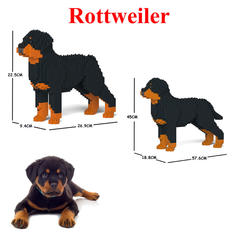 Jekca Stacking Blocks Rottweiler Assembled Toy Diy Model Dog Child