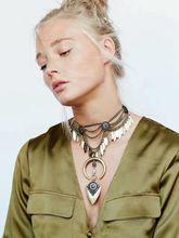 Moda Collar de Cadena Pendiente de Las Mujeres 2016 de Plata de Época Collier Femme Joyería Declaración Gargantilla Collar Babero de La Joyería de Boho Maxi Grande