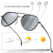 Al Mg Photochromic Polarized Metal Pilot Sunglasses,Men Discoloration Driving Sunglasses, Anti Glare Male Sun Glasses S163