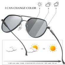 Gafas de sol de piloto de Metal polarizadas fotocromáticas de al mg, gafas de sol de conducción de decoloración para hombre, gafas de sol para hombre antideslumbrantes S163