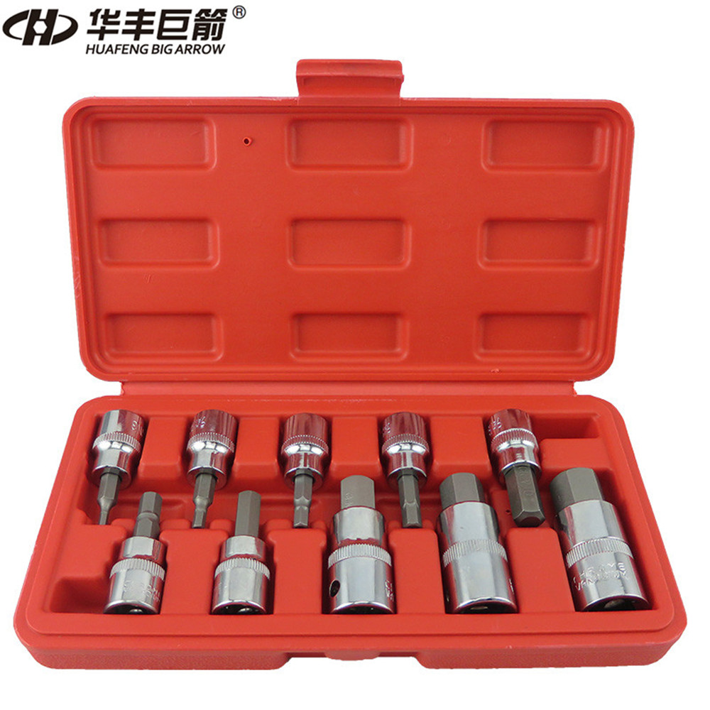 "مجموعه سوکت HUAFENG BIG ARROW 10PC Hex Bit Hex Metric Sze 3/8 ""& 1/2"" Drive Hex Key Allen Head Socket Bit Set Set"