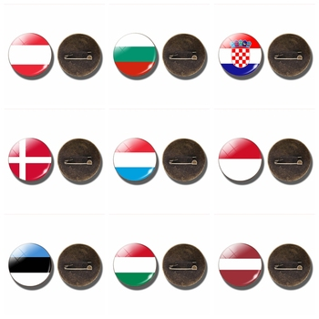 Europe Country Flag Round Glass Cabochon Brooch Pins Belarus Croatia Denmark Lithuania Hungary Latvia Flag Badge Flag Jewelry image