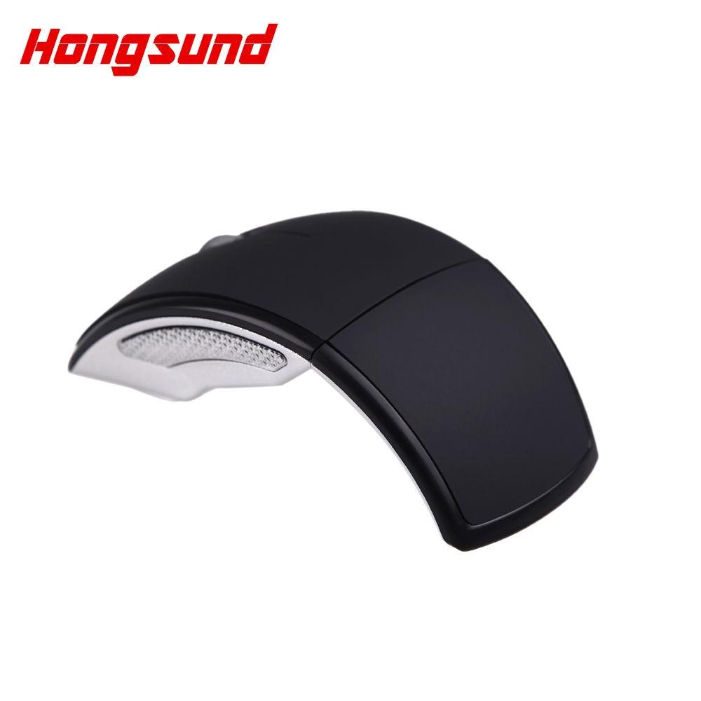 Hongsund 2.4 Ghz Sans Fil USB Optique Pliable Arc Mouse Récepteur Enfichable Portable Pliant Souris Pc Portable PC Ordinateur