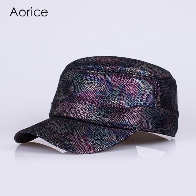 HL127-3 couro genuíno boné de beisebol/chapéu dos homens nova marca de couro real da pele de carneiro exército caps/hats com 5 cor