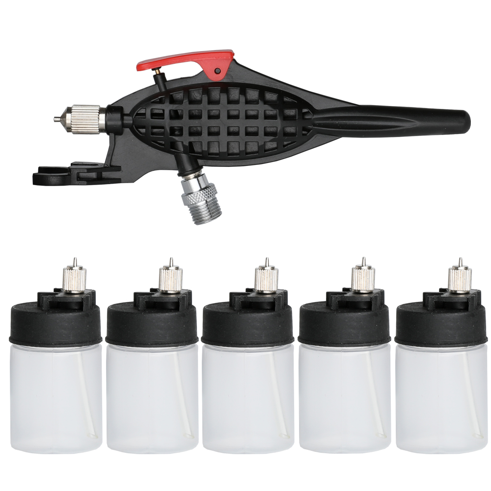 OPHIR Airbrush Kit with 5pcs of Bottles Single Action Airbrush for Tattoo Car Painting Model Hobby Body Painting AC058 in Temporary Tattoos from Beauty Health