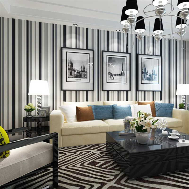 Beibehang Modern simple black and white striped wallpaper living room bedroom background fashion ...