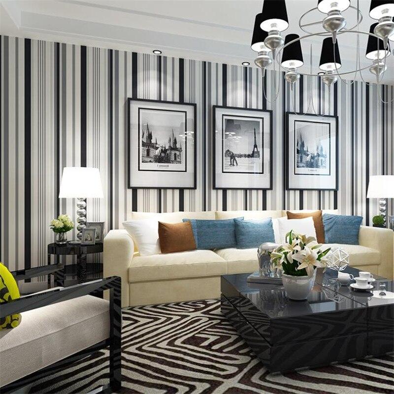 Beibehang moderne simple noir et blanc rayé papier peint salon chambre fond mode décoratif 3d papier peint behang