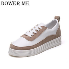 2017 Spring New Thick Soled Shoes Flat Platform Lace Up Korean White Shoes Women Sport Casual Woman Shoes Leather Tenis