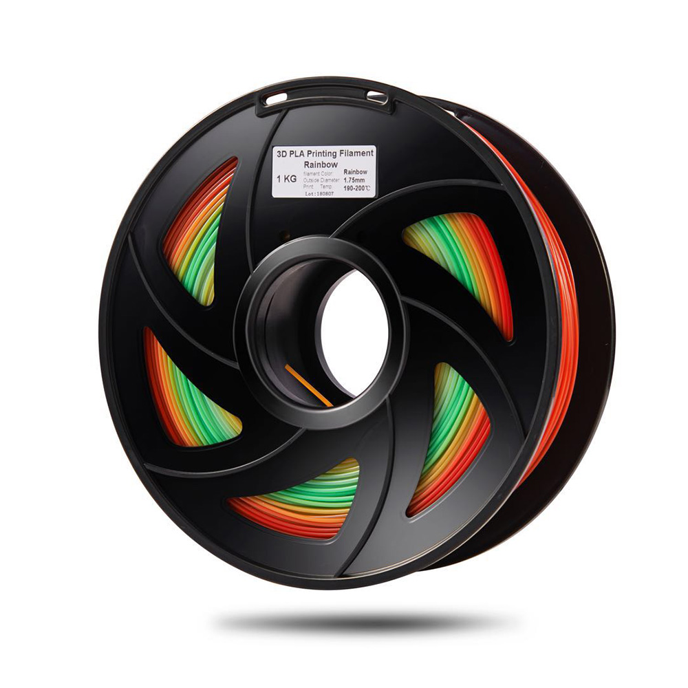 PLA 3D Printer Filament Color Changing Rainbow Multicolor 1.75mm 1kg Spool Dimensional Accuracy  0.02mm (Color Random Delivery)