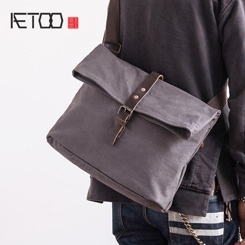 AETOO Retro slant canvas bag male literary folding packets shoulder bag multi pocket woman bag