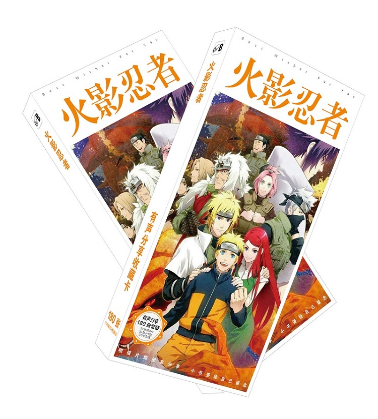 180pcs/Set Japanese Anime Naruto Postcard/Greeting Card/Message Card/Christmas and New Year gifts 30pcs in one postcard owe you a song romantic love christmas postcards greeting birthday message cards 10 2x14 2cm