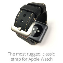 38mm 42mm Apple Watch Band Black Comfortable Leather Watch Strap For Iwatch Apple Watch With Adapter