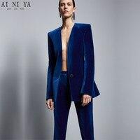 Королевский синий бархат куртка + брюки Формальные Элегантные брюки костюм женские деловые костюмы Slim Fit Женская Офисная форма комплект из 2