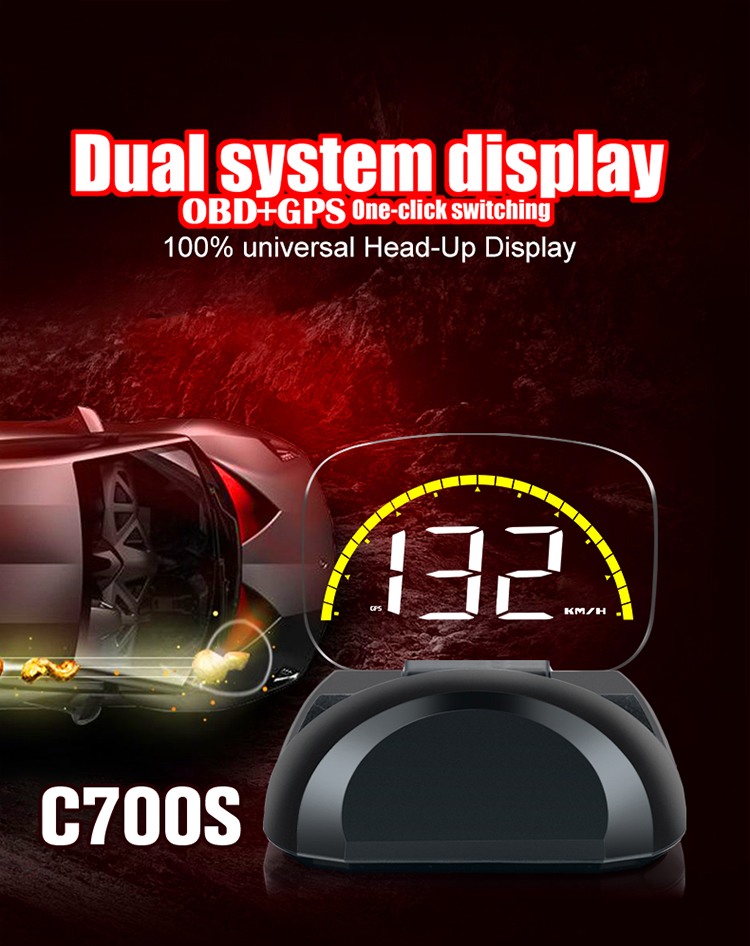 Image 4 - 2018 New Arrival C700 C700S OBD2 Car HUD OBD II HD Head Up Speed Display Voltage Water Temperature Overspeed RPM Alarm For Car-in Head-up Display from Automobiles & Motorcycles