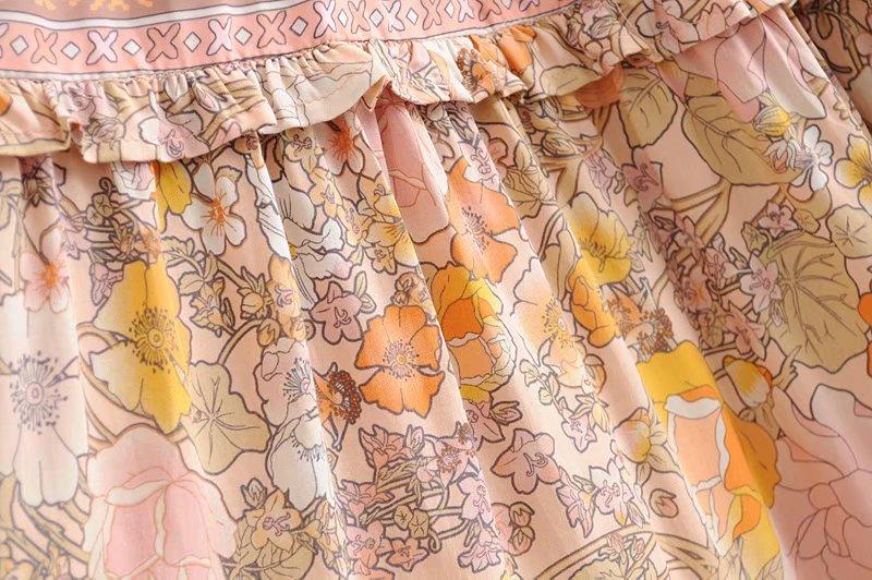 V-Neck Sasches Ruffles Floral Print Boho Dress 13