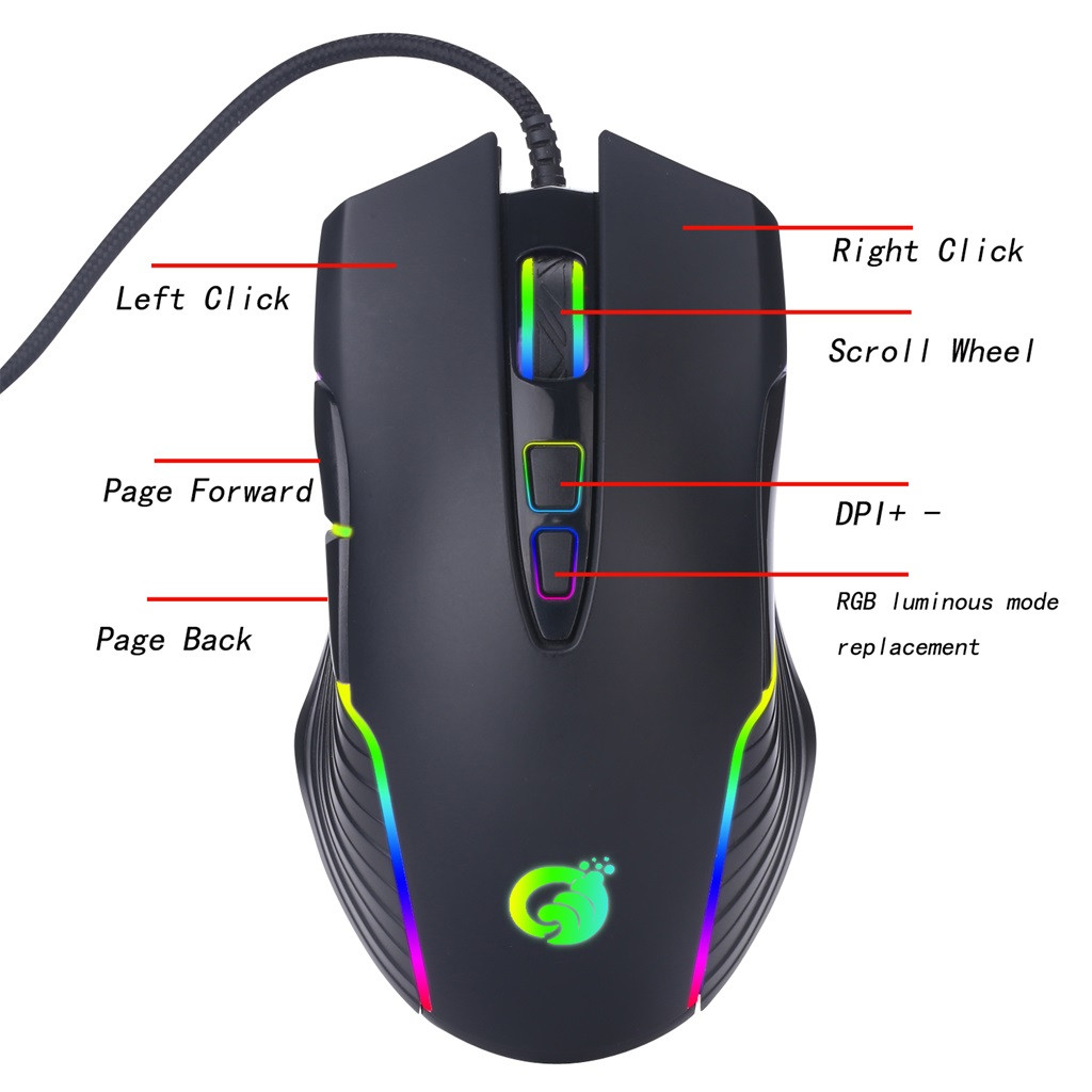 USB Wired RGB Backlight Definition Mouse For Laptop Games Desktop Computer